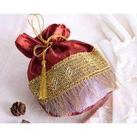 Мешки на юбилей из атласа с золотой тесьмой и кисточками