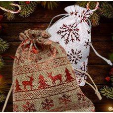 Джутовые новогодние мешки с принтами