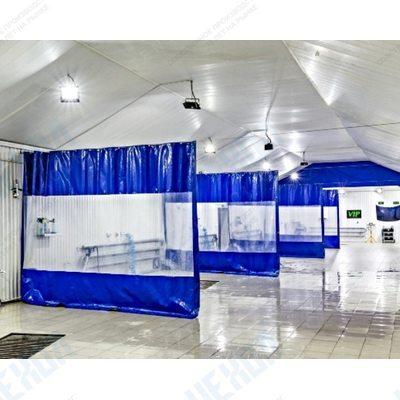 Штора завеса с прозрачной вставкой из ткани ПВХ Корея Север 630 г/м2