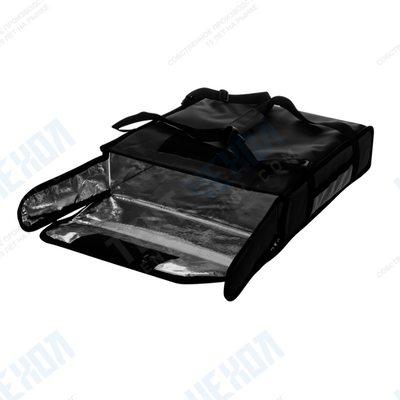 Термосумка на 2 пиццы 420х420х100 мм фольгированная большая черная