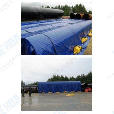 Тент укрытие для труб панцирь из ткани ПВХ Китай 900 г/м2